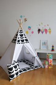 Black tulip kids teepee play tent with a padded floor mat by WigiWama on  Etsy