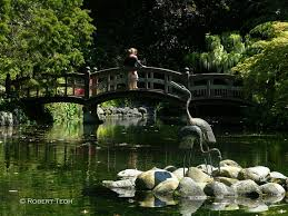 Rustic Wooden Japanese Garden Bridge On Large Ponds Plus Stone Edging And  Stork Sculpture