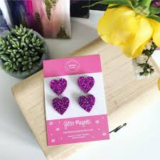 Pretty in pink little heart magnets - perfect to brighten up your ...