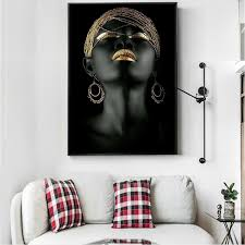 wall art painting black woman on canvas