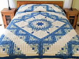 Lone Star Log Cabin Quilt -- magnificent skillfully made Amish ... & Blue Green Yellow Lone Star Log Cabin Quilt Photo 1 ... Adamdwight.com