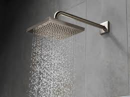 delta 57740 chrome 2 5 gpm arzo 8 wide rain shower head with shower arm and touch clean technology limited lifetime warranty faucet com