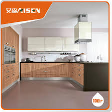 Pvc Kitchen Furniture Designs Long Lifetime Wooden Color Pvc Membrane Kitchen Cabinet Low Price
