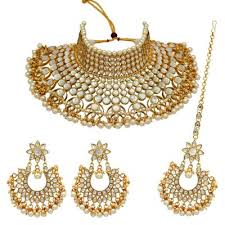 white color imitation pearl padmavati style choker kundan necklace with earrings maang tikka kn142wht