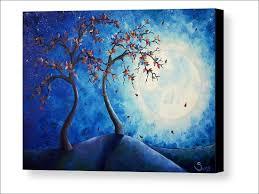 tree full moon wall art art print on