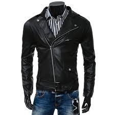 turn collar pu leather belt embellished epaulet long sleeve jacket for men black