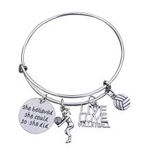 volleyball bracelet s volleyball jewelry volleyball charm bangle perfect volleyball gifts for players