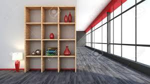 Rotem Interieur Mit Großem Fenster Und Regal Lizenzfreie Fotos