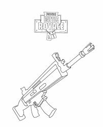 Fortnite Rifle Scar Coloring Page Dav En 2019 Ilustración Con