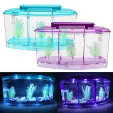 15 Aquarium Light Us 9 57 25 Off Mini Plastic Fish Tank Portable Desktop Aquaponic Aquarium Betta Fish Bowl With Led Light Divider Filter Water 15 On Aliexpress