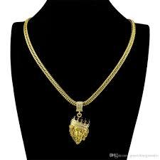 whole hip hop pendant necklace golden crown lion head pendants chain necklaces men diamonds 18 k real gold plated jewelry diamond pendant necklaces