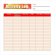 Colorful Activity Log Daily Activity Log Template Planet Surveyor Com