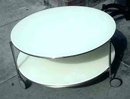 round coffee table collectibles sold white on wheels with glass casters lack high gloss square t