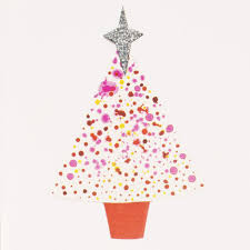 Pink Christmas Card Pink Christmas Tree Mini Greeting Card Mini006 Artists On Cards Ltd