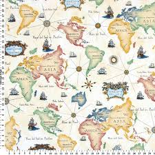 Small Picture World Map Fabric Drapery Fabric Upholstery Fabric Slip Cover