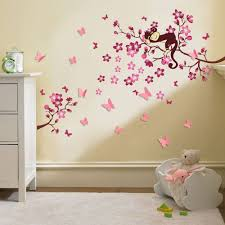 wall decals for nursery girl cherry blossom tree monkey design 3d in most up to date