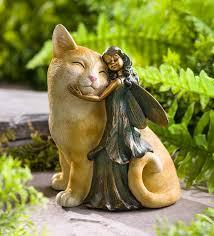 fairy and cat garden statue plowhearth