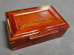 deep jewelry box in cocobolo wood with chamfered lid and sliding removable inner tray 5 5 8 x 8 3 4 x 3 sorry sold for 148