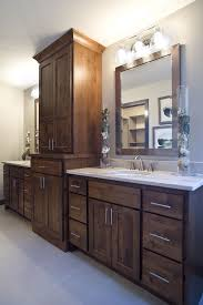 bathroom vanity and linen cabinet. Knotty Alder Vanity With A Large Linen Tower, Dual Sinks And White Quartz Countertops. Bathroom Cabinet Y