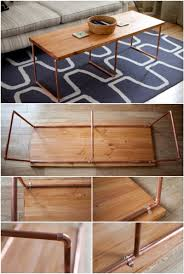 diy copper coffee table with wooden top