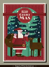 Christmas Card Template Classical Santa Claus Reindeer