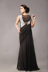 Designer Stitched Saree Black Stitched Gown Saree