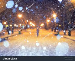 Snowfall Blizzard Lights Blurred Picture Park Snowfall Lights Stock Image Download Now