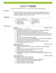 Pipefitter Resume Sample Stunning Pipefitter Resume Sample Resume' Examples Pinterest Sample