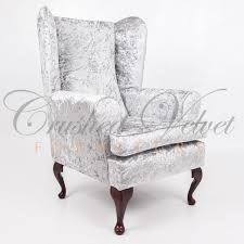 grey velvet chair. Beautiful Velvet Crushed Velvet Wing Back Chair Silver With Grey P