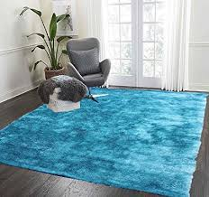 turquoise shag rug. LA Rug Linens Home Stores Cozy Shag Collection Turquoise Solid Rug, 8 W X