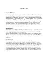 social studies sba template on teenage pregnancy  3 introduction relevance of the topic teenage