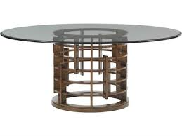 tommy bahama island fusion 60 round merin sebana glass top dining table