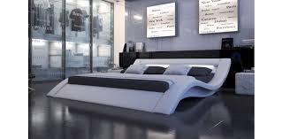 Monaco Modern Leather White Platform Bed