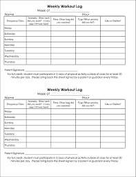 Weekly Food Exercise Log Template Templates Resume