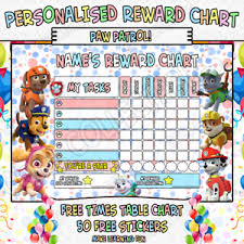 Details About Childrens Personalised Reward Chart Chore Toilet Training Paw Patrol