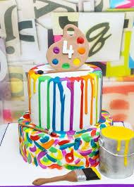 little artist birthday cake paint party ideas