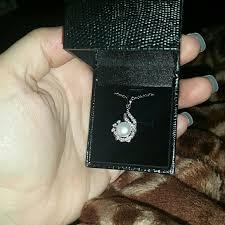 silver rhinestone pearl necklace