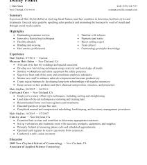 Cosmetology Resume Summary Cosmetologist Example Sample For Student