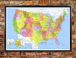 Large Us Map Poster Classic Premier United States Blue Oceans Wall Map