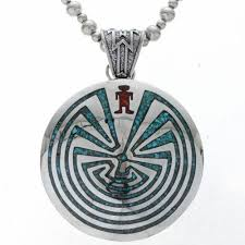 man in the maze sterling pendant