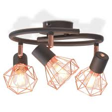 copper lighting fixture. Image Is Loading VidaXL-Ceiling-Lamp-with-3-Spotlights-E14-Black- Copper Lighting Fixture E