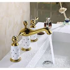 missa series 3 holes bathroom sink faucet in gold finish