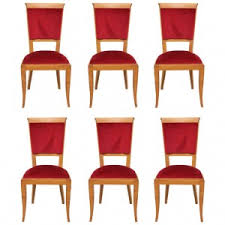 set of 6 french art deco solid sycamore dining chairs circa 1940s art deco dining 6