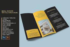 2 Folded Brochure Template Trifold Real Estate Printable Brochure Templates Psdai A4