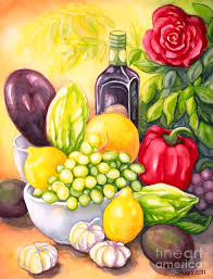 time for fruits and vegetables painting by inese poga
