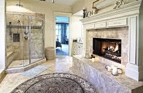bathroom walk in shower ideas. Large Bathroom With Glass Shower Bench And Fireplace Walk In Ideas