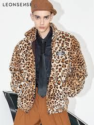 leonsense new luxury faux fur coat leopard print winter men jacket turn down collar loose mens