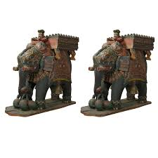 monumental pair of carved wood indian elephant planters