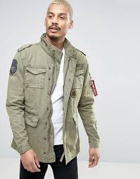 alpha industries alpha industries m65 field jacket with patches men olive