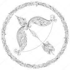 Hand Drawn Line Flowers Art Of Zodiac Sagittarius Stock